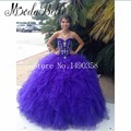 Princesa bonita Quinceanera Dresses New Arrival 2016 Puffy Roxo Doce 16 Vestidos de Baile Vestidos 15 Años Debutante