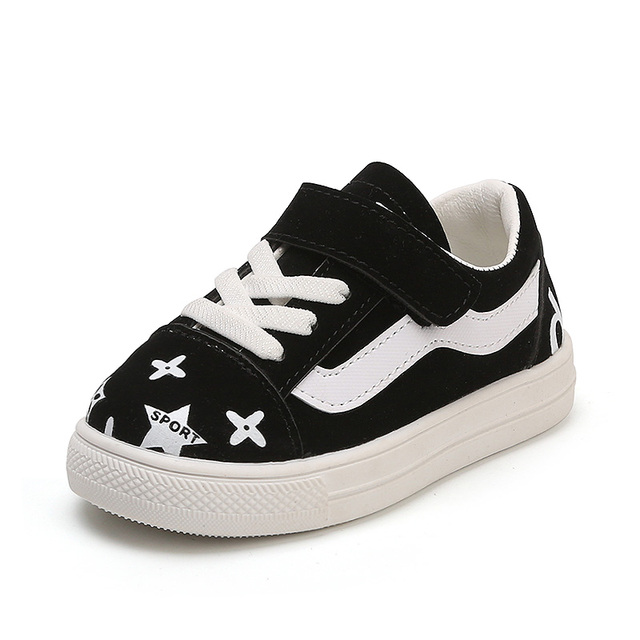 Floral Kids Shoes for Girls Leather Star Letters Print Boys Casual Sneakers Children Shoes Non-skid Soft Bottom Toddlers Trainer
