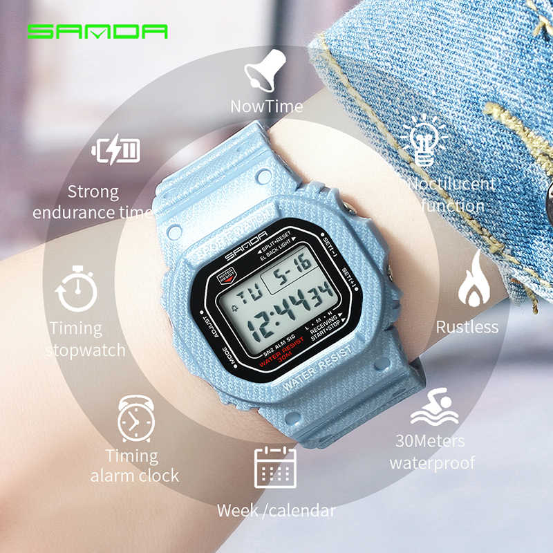 SANDA ספורט LED אלקטרוני דיגיטלי שעון עמיד למים גברים שעון היד של מאהב שעונים Mens למעלה מותג יוקרה Relogio Masculino
