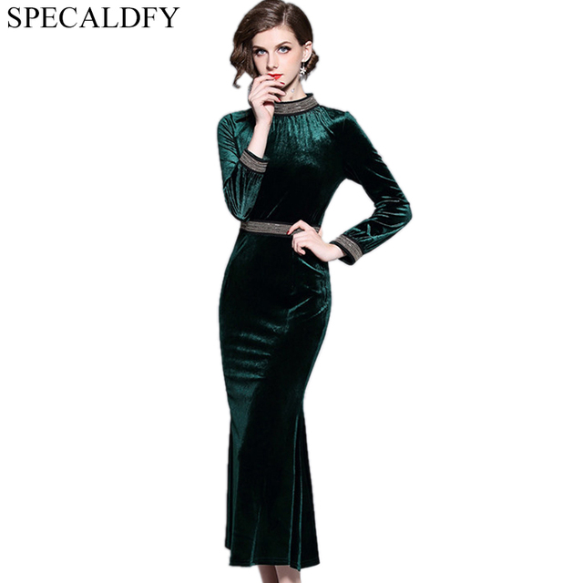 2018 Spring Winter Dresses Women Long Sleeve Vintage Velvet Dress Runway Y Evening Party Bodycon