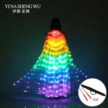 المرحلة الأداء الدعائم النساء الرقص الإكسسوارات DJ LED أجنحة الرقص تضيء الجناح زي LED أجنحة الرقص قوس قزح الألوان مع عصا