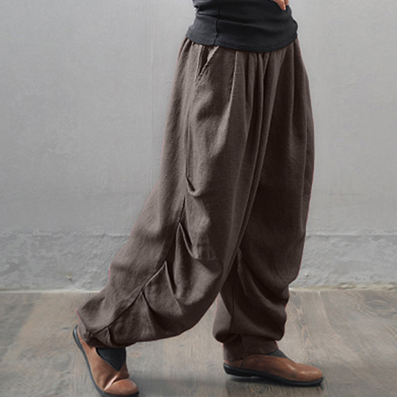 New Oversized ZANZEA Women   Wide     Leg   Cargo Trousers Overalls Casual Elastic Waist Pockets Solid Cotton Linen Harem   Pants   Baggy