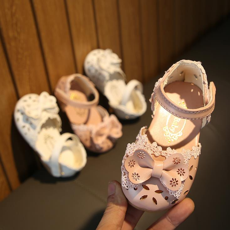 Summer Baby Girl Beach Sandals Kid Girls Infant Toddler Hollow Out Bowknot Sandals 15-19 0-2years A-10 Pink White TX09