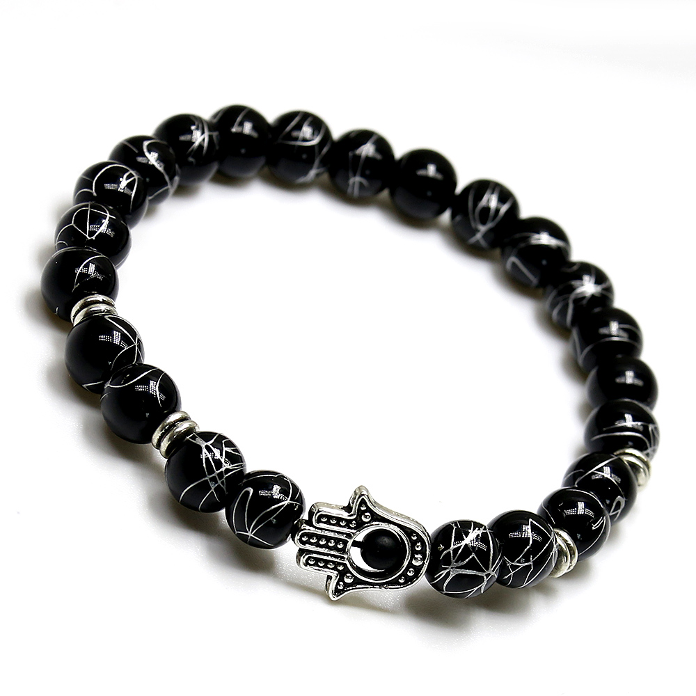 Designer Good Luck Palm Hand eye Natural stone Onyx Bracelet Charm Starfish Bracelets Trendy Classic Bracelets for Men