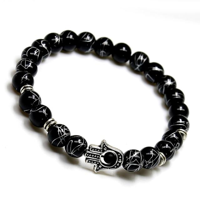 Concepteur bonne chance paume main oeil pierre naturelle Onyx Bracelet breloque étoile de mer Bracelets à la mode classique Bracelets pour hommes