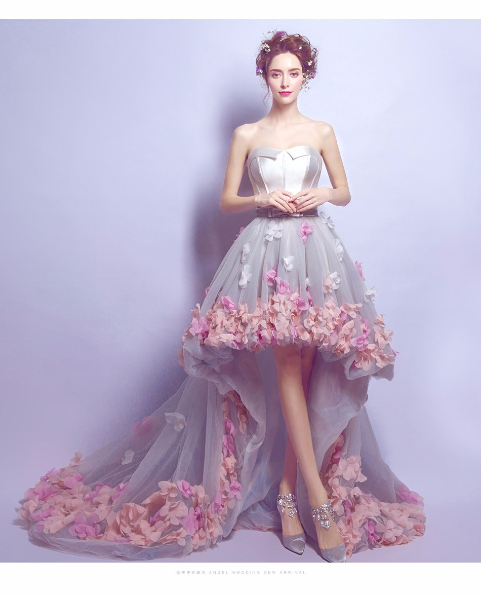buy Flower Prom Dress Short Front Long Back Homecoming Gown online