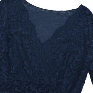 Image 5 - iiniim Womens Maternity Elegant Dress Floral Lace Overlay V Neck Half Sleeve Pregnant Photography Dress for Take Part Weeding