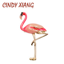 Фотография CINDY XIANG Cute Enamel Flamingo Brooches Unisex Women and Men Brooch Pin Bird Animal Broches Fashion Dress Coat Accessories