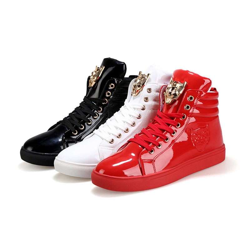 Fashion Leopard Sequined Skate Shoes For Men Ankle Boots 2015 New PU Patent Leather Shoe High Top Casual Flats Medusa Shoes F184 (31)