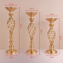 Metal Flowers Vases Candle Holders, Gold Plated Iron Candlestick Candelabra Home Decoration