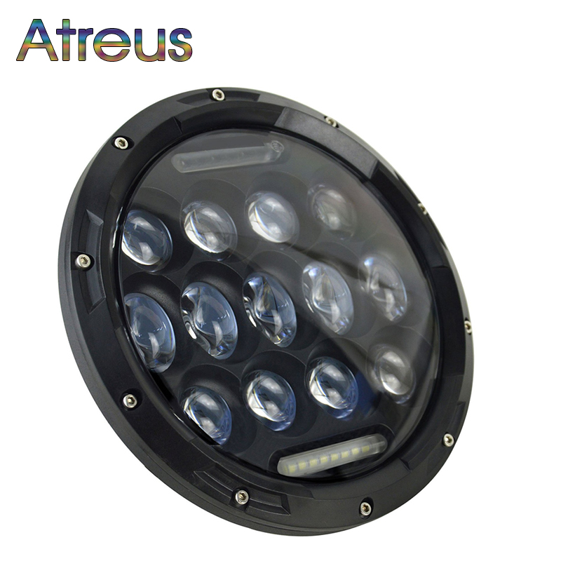 Atreus Black car-styling For Jeep Wrangler Headlight Accessories 1Pc 7Inch 75W High/Low LED Car Headlamp DRL Fog Lights 12V 24V black chrome round 75w high low beam drl led auto headlight driving fog lights for jeep wrangler hummer h1 h2 offroad