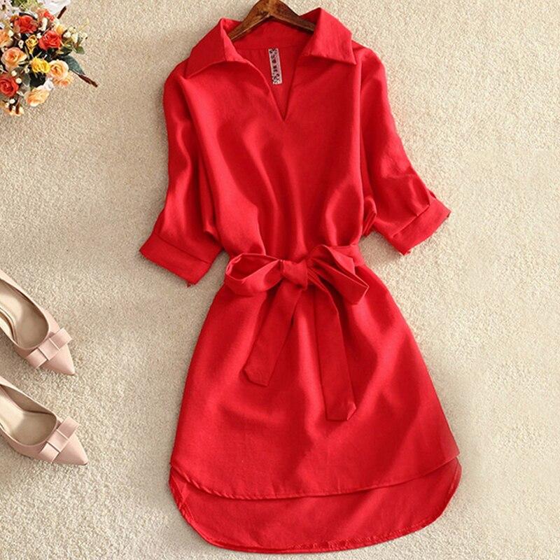 Moda verão camisa longa blusa feminina sólido vermelho chiffon topos para senhoras túnica blusas chemisier vestidos femme 2019