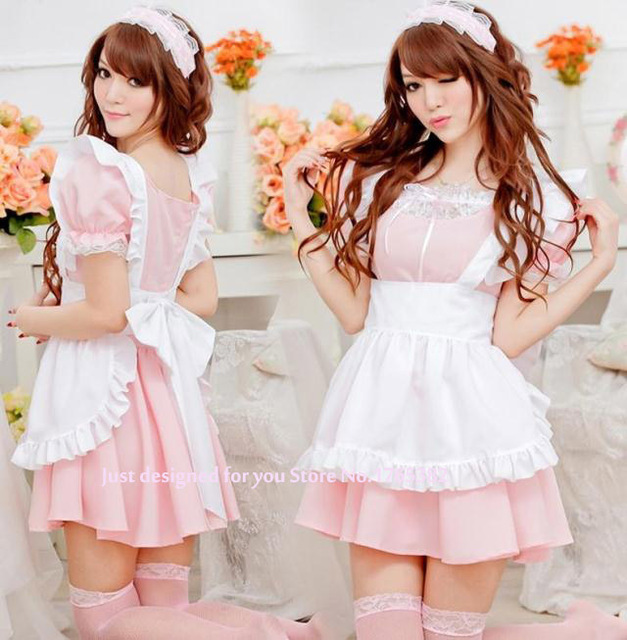 Hot Anese Y Role Playing Cute Maid Dress Pink Outfit Cosplay Princess