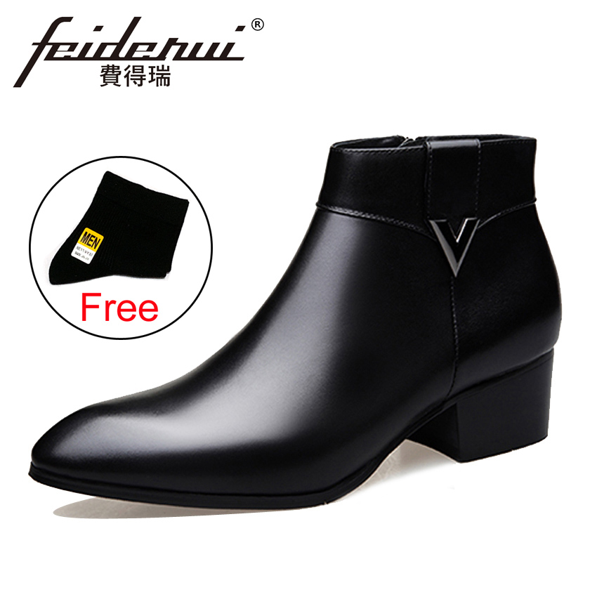 2018 Fashion Genuine Leather Men's Ankle Boots Pointed Toe High-Top High Heels Footwear Handmade Man Cowboy  Shoes HQS237