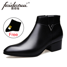 2018 Fashion Genuine Leather Men's Ankle Boots Pointed Toe High-Top High Heels Footwear Handmade Man Cowboy  Shoes HQS237 plus size italian style man high heels pointed toe rocker punk shoes genuine leather men s cowboy motorcycle ankle boots sl325