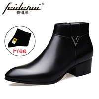 2018 Fashion Genuine Leather Men's Ankle Boots Pointed Toe High Top High Heels Footwear Handmade Man Cowboy Shoes HQS237
