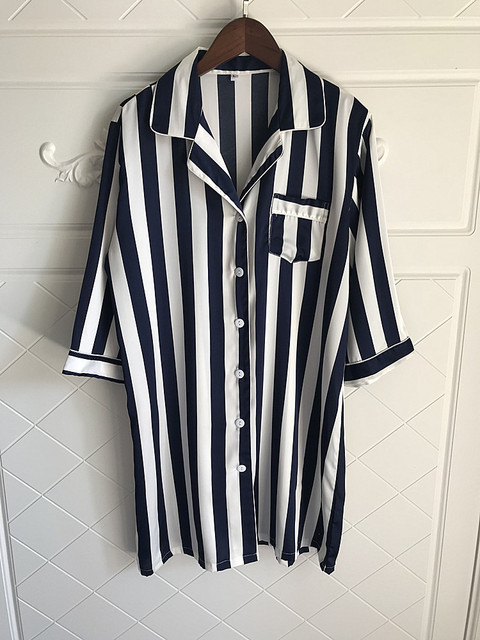Loose Striped Women Nightgown Sleepwear 1