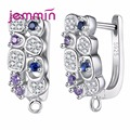 Jemmin 925 Sterling Sliver Earrings Colorful Micro Crystal Prong Setting Hoop Bijoux Design For Women Party Wedding Jewelry