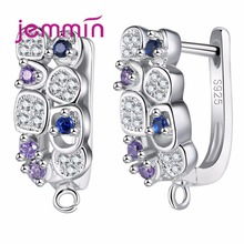 Купить с кэшбэком Jemmin S925 Slterling Sliver Earrings Inlay Colorful Micro Crystal Prong Setting Hoop Bijoux Designed For Wommen Wedding Accesso