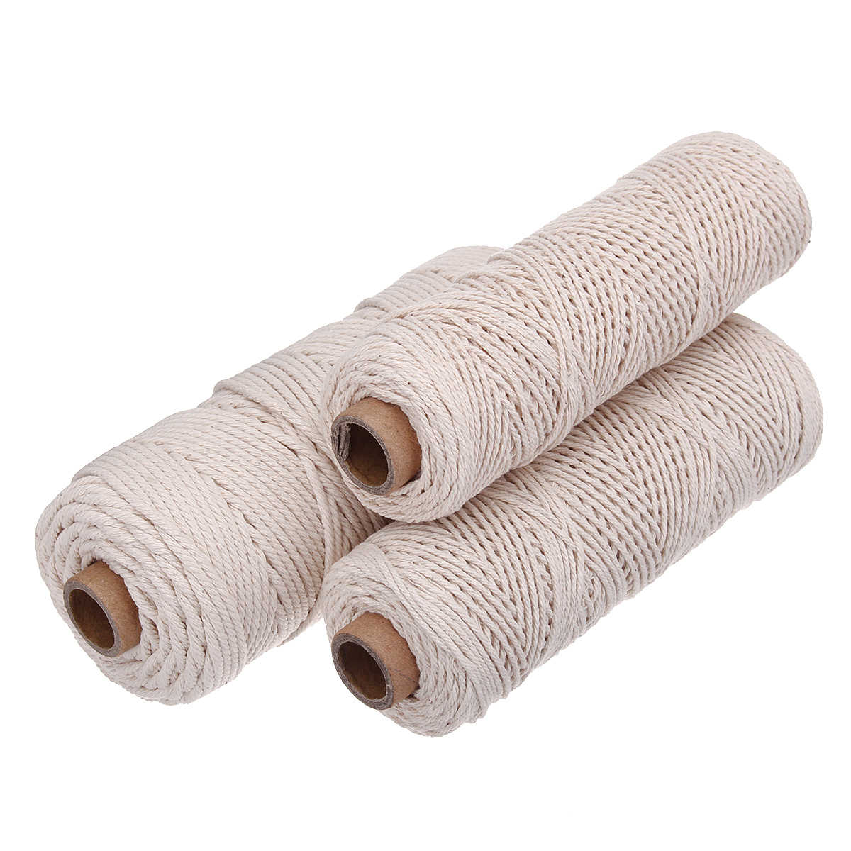 1/2/3mm Durchmesser Weiß Beige 100 M Baumwolle Verdreht Kabel Seil Handwerk Macrame Artcraft String DIY handmade Geflochtene Baumwolle Schnur