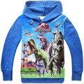 Crianças meninos hoodies casaco com capuz camisa de manga comprida do mundo Jurassic Dinosaur camiseta moletons casacos 4 pçs/lote