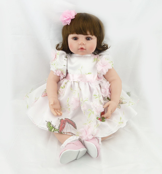 "22""  Doll Reborn Toddler Baby Girls Short Curly Brown Hair Play Doll Toys Reborn Baby Doll In Princess Dress Birthday Gifts"
