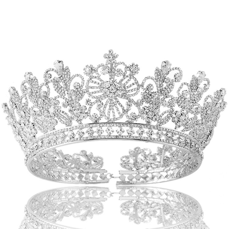 High Quality Bridal Tiaras and Crowns Full Crystal Rhinestone Silver Gold Wedding Hair Crown for Women Hair Jewelry Accessories 00009 red gold bride wedding hair tiaras ancient chinese empress hair piece