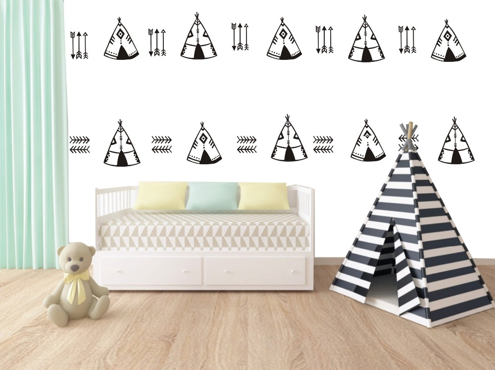 Wall Decal Vinyl Sticker Tent And Arrow Set Pattern For Kids Boy Girl  Living Play Room