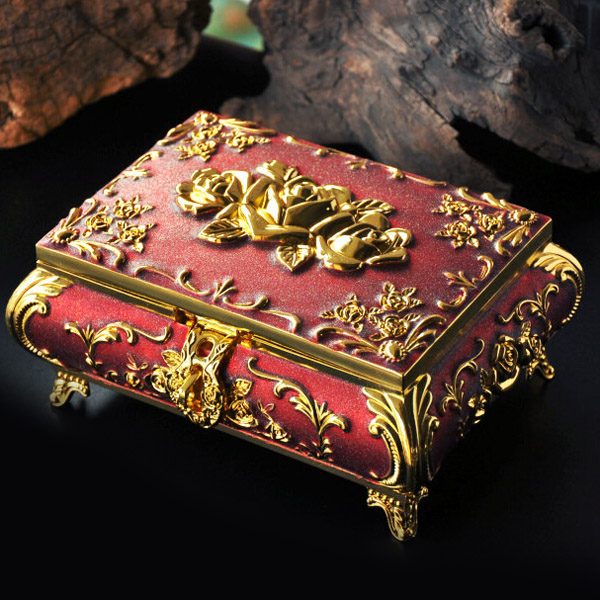 Luxury European Style 4 Colours Retro Jewellery Box Princess Gift With Cosmetic Mirror box Makeup Metal Case buried jewellery box