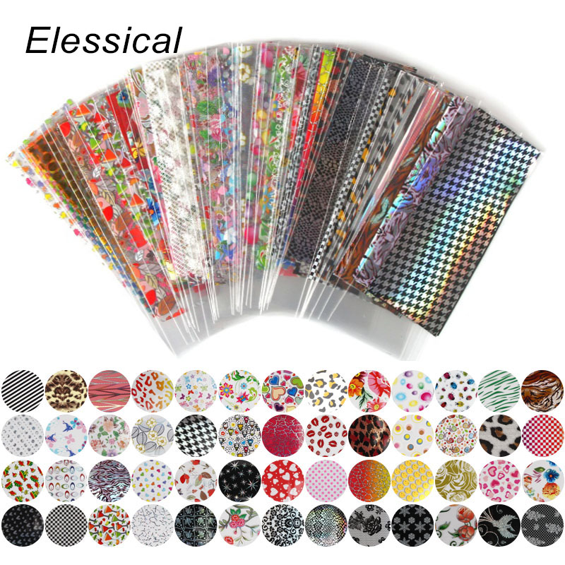 Elessical 52pcs 20cm*4cm Colorful Transfer Foil Nail Art Flower Design Sticker Decal For Polish Care DIY Manicure Nail Art WY209 hot sale 20 sheets lot 20 4cm nail art transfer foil floral serial sexy black lace pattern nail sticker foil material diy wy188