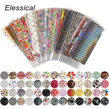 Фотография Elessical 52pcs 20cm*4cm Colorful Transfer Foil Nail Art Flower Design Sticker Decal For Polish Care DIY Manicure Nail Art WY209