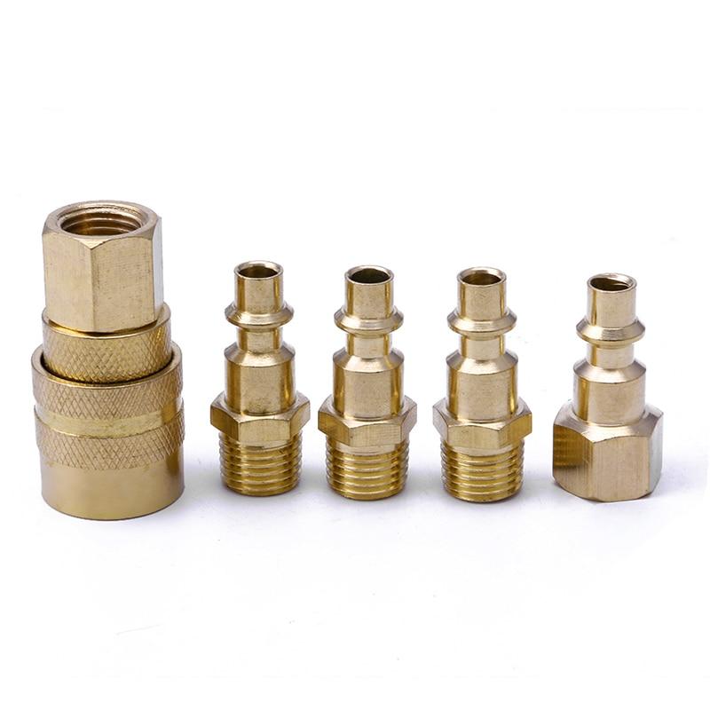5Pcs Brass Quick Coupler Set Solid Air Hose Connector Fittings 1/4 NPT Tools 2pcs brass pneumatic air quick coupling connector coupler 12mm 15 32