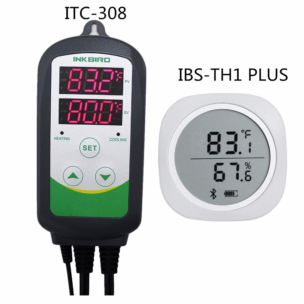 Combo IBS-TH1 PLUS Bluetooth Wireless Magnetic Monitor Smart Sensor Data Logger + ITC-308 Heater & Cooler Temperature Controller