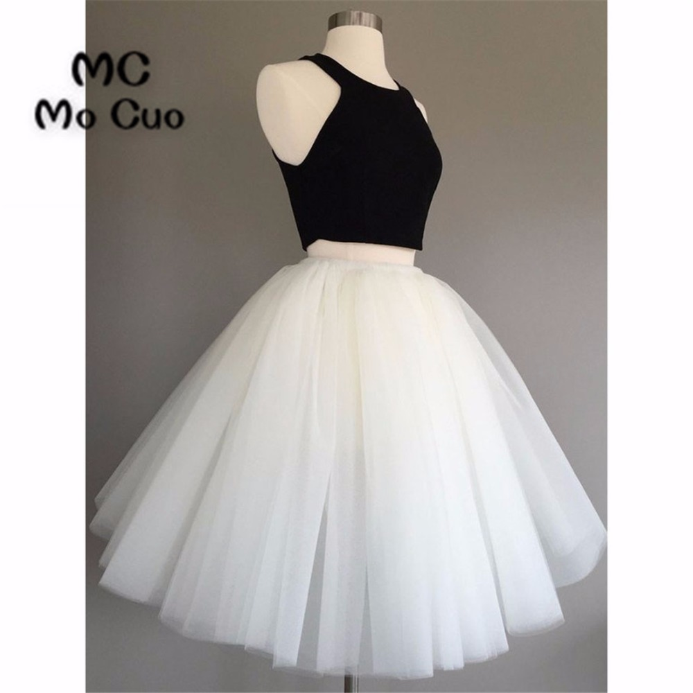 Ball Gown 2018 Short Homecoming dress White Black Cocktail party dress Sleeveless Halter Party Dress short