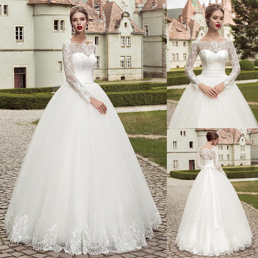 Charming Tulle Off-the-shoulder Neckline Ball Gown Wedding Dresses With Lace Appliques Long Sleeves Zipper/Lace Bridal Gowns