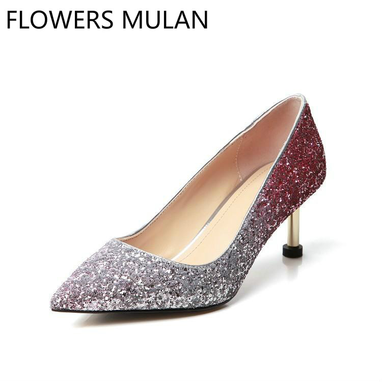 Mixed Color Sequined Leather High Heels Lady Pumps Pointed Toe Slip On Stilettos Female Party Wedding Women Shoes Spring NewMixed Color Sequined Leather High Heels Lady Pumps Pointed Toe Slip On Stilettos Female Party Wedding Women Shoes Spring New