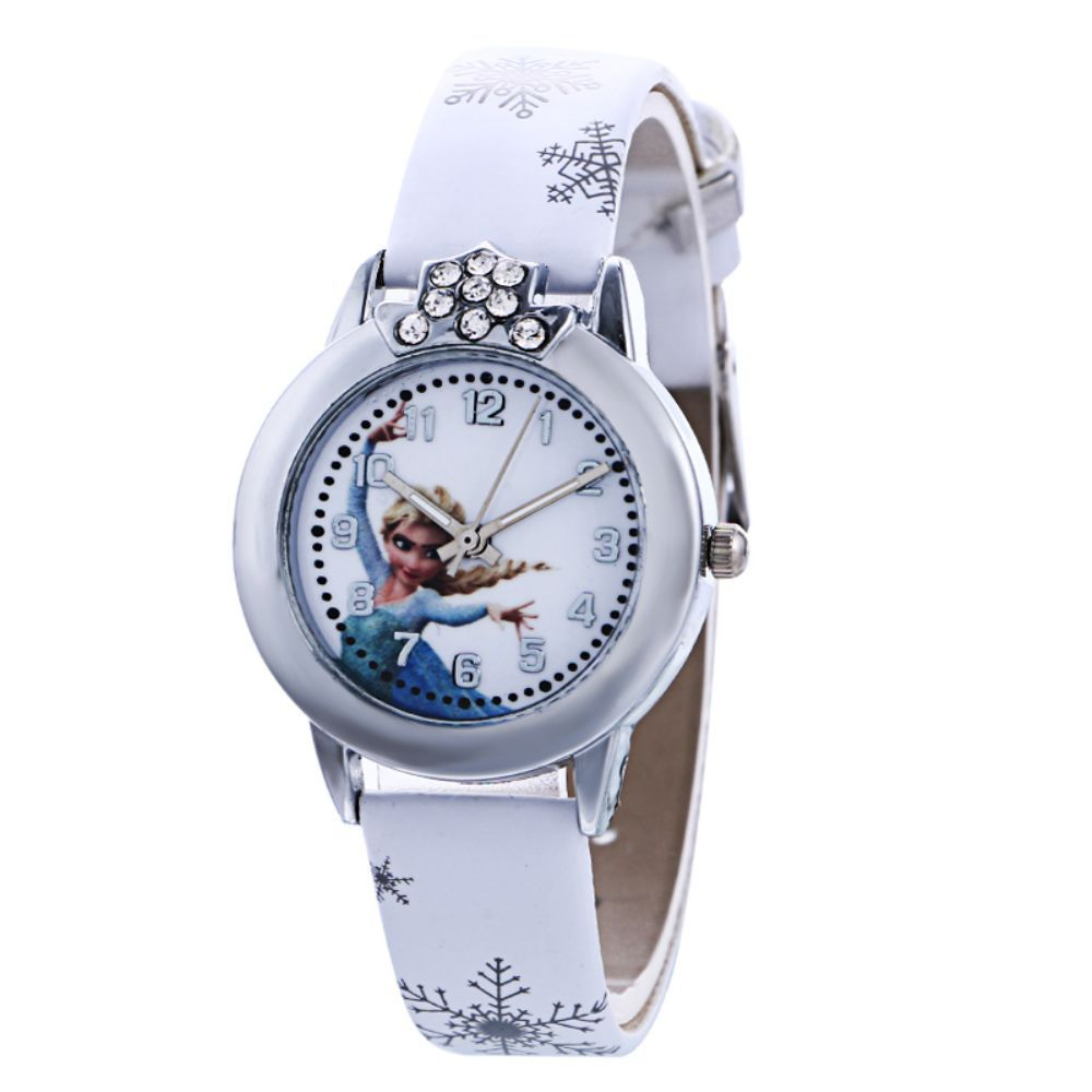 Children's Watch Girl Elsa Princess Kids Watches Cute Fashion Cartoon Student Girl's Quartz Clock Children rubber Leather  Watch