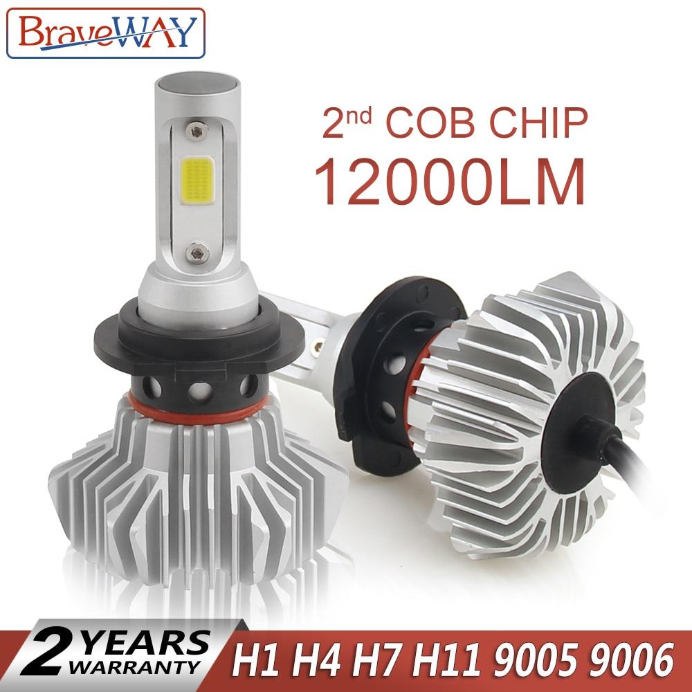 цена на BraveWay Super LED Bulb for Cars Led Headlight for Auto Lamps 12000LM 80W 12V Car Light Ice Bulb H1 H4 H7 H11 9005 9006 HB3 BH4