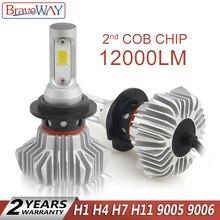 BraveWay супер светодиодный лампы для автомобилей Светодиодный фара для авто лампы 12000LM 80 W 12 V Car Light Ice лампы H1 H4 H7 H11 9005 9006 HB3 BH4