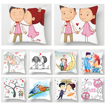 Fuwatacchi Custom Couple Cushion Cover Cartoon Love Romantic Throw Pillow Hand Painted Boy Girl Wedding Decoration