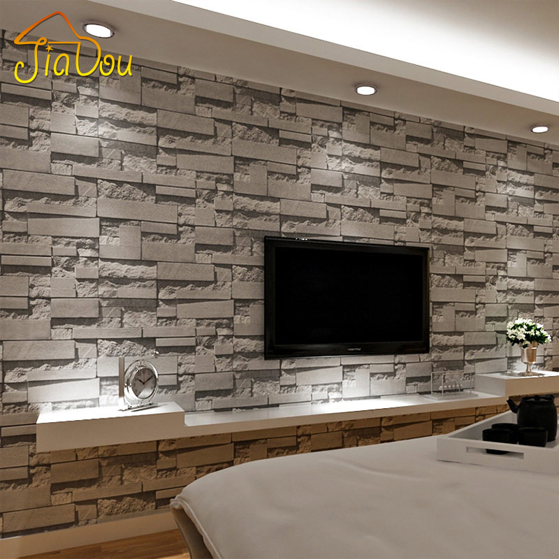 3d stone wallpaper reviews online shopping 3d stone for Grey brick wallpaper living room