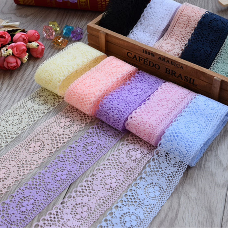 4cm Width White Decorative Lace Trim Fabric Wedding Birthday Christmas Goods Craft DIY Embroidery and Skirt Intimate Accessories(China)