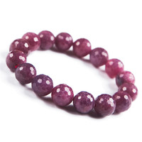 Genuine Natural Red Gem Stone Faced Jewelry Bead Stretch Crystal Lady Nice Bracelets 12mm