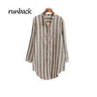 Runback 2019 New Coarse Blousa Cotton Linen Stripes Large Size Loose Small Collar Irregular Women Blouses Shirts Vintage Roupas