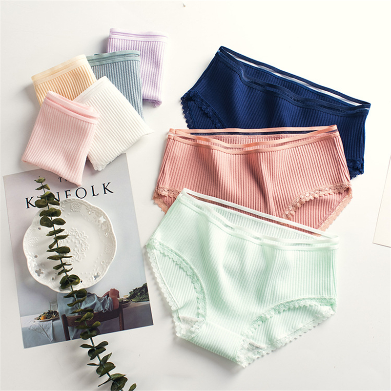 8 Color   Panties   for women cotton briefs ladies lace underwear sexy lingerie girl underpants famela casual   panty   plus size