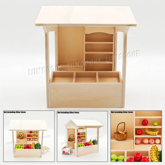 Odoria 1:12 Miniature Wooden Stall Shelving Store Display Shop Showcase  Self Assembly Dollhouse