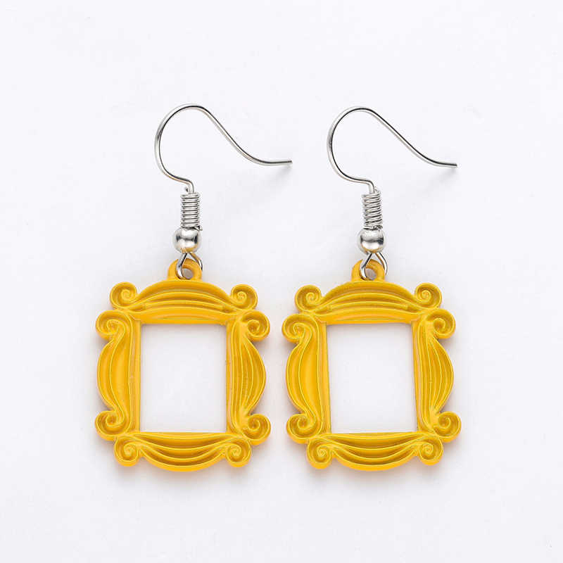 Friends TV Show Big Earrings Peephole Frame Yellow Earring Classic Jewelry Best Friend/Valentine'Day Gift Women Earring