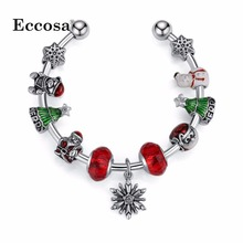 Eccosa Christmas Gifts Opening Bangle Hot Sell Berloque For Women Girl Snowman Accessoeies Charm Bracelets & Bangles Jewelry