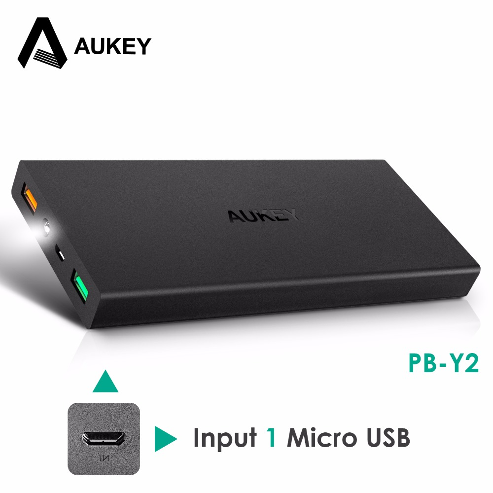 Original Aukey 16000mAh Power bank QC 2.0 External Battery 2 USB Powerbank for iPhone/Xiaomi/HTC/Samsung/Nexus with Type c