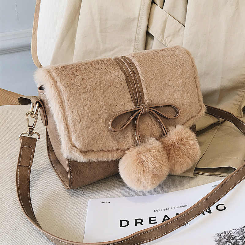 f67bd11278 Pompom Bowknot Velvet Small velour women messenger bag designer Plush handbag  Crossbody shoulder Hairy bag fashion